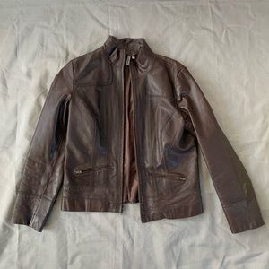Nordstrom Caslon Brown Leather Jacket Wmns M